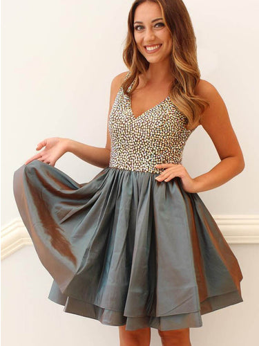 Beautiful Homecoming Dress Sexy V-neck Taffeta Short Prom Dress Party Dress JK287