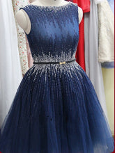 Cute Sexy Homecoming Dress Bateau Beading Tulle Short Prom Dress Party Dress JK288
