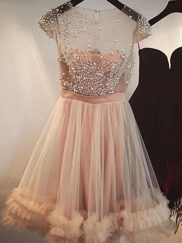 Sexy Homecoming Dress Champagne Tulle Beading Short Prom Dress Party Dress JK290