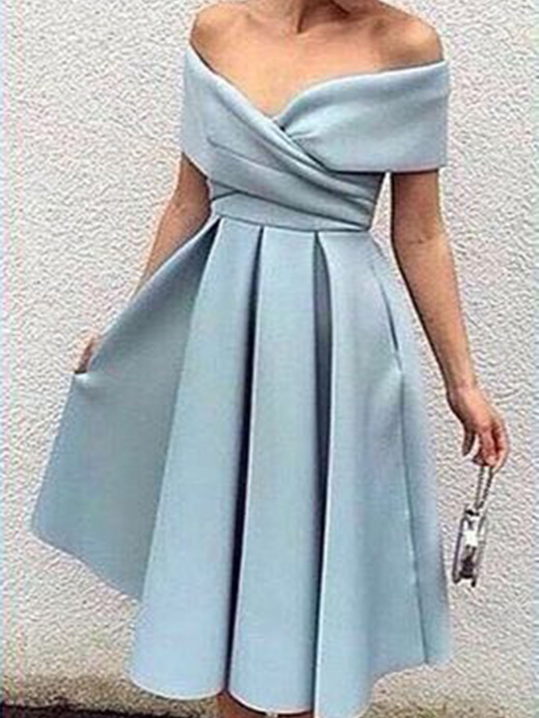 Beautiful Homecoming Dress Off-the-shoulder Satin Short Prom Dress Party Dress JK294|Annapromdress