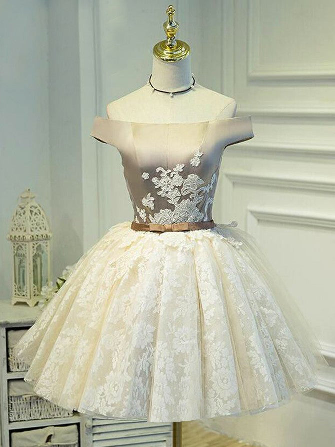 Cute Homecoming Dress Off-the-shoulder Lace Ivory Short Prom Dress Party Dress JK295
