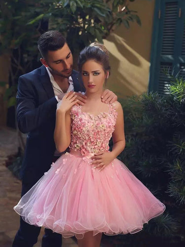 Cute Pink Homecoming Dress Hand-Made Flower Tulle Short Prom Dress Party Dress JK296
