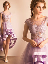 Cute Homecoming Dress Lilac Tulle Asymmetrical Short Prom Dress Party Dress JK302