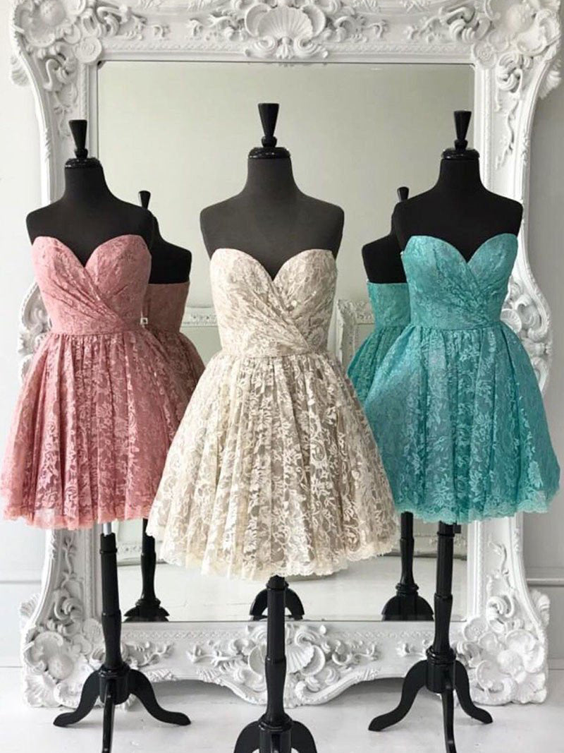 Cute and Sexy Homecoming Dress Sweetheart Lace Short Prom Dress Party Dress JK306
