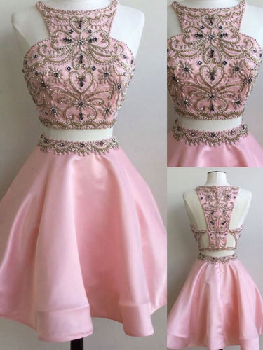Two Pieces Homecoming Dress Sexy Tulle Rhinestone Short Prom Dress Party Dress JK308