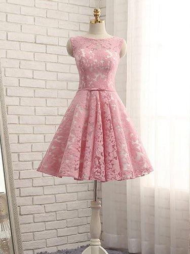Lace Homecoming Dress Bateau Lace-up Bowknot Short Prom Dress Party Dress JK309