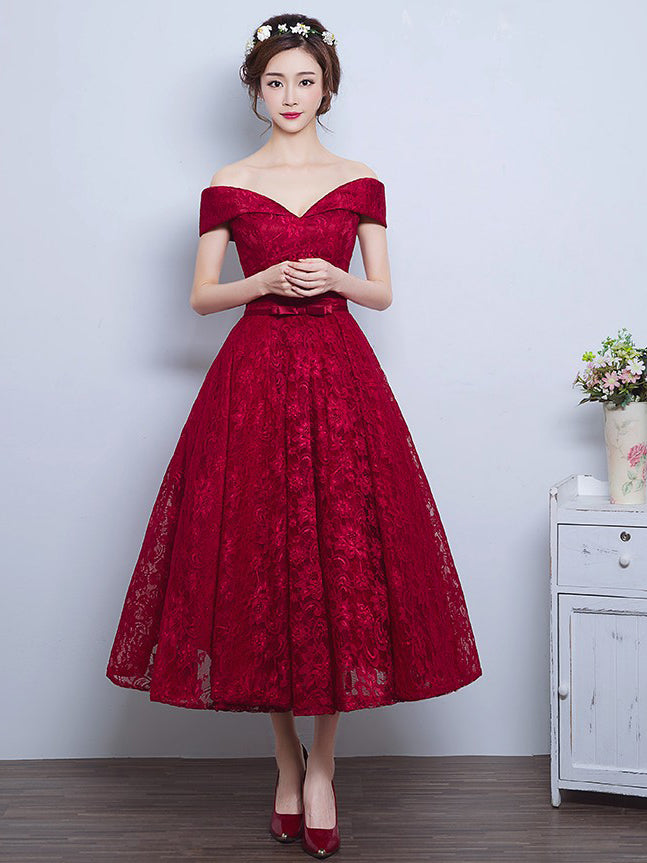 Burgundy Homecoming Dress Lace-up Tea-length Short Prom Dress Party ...