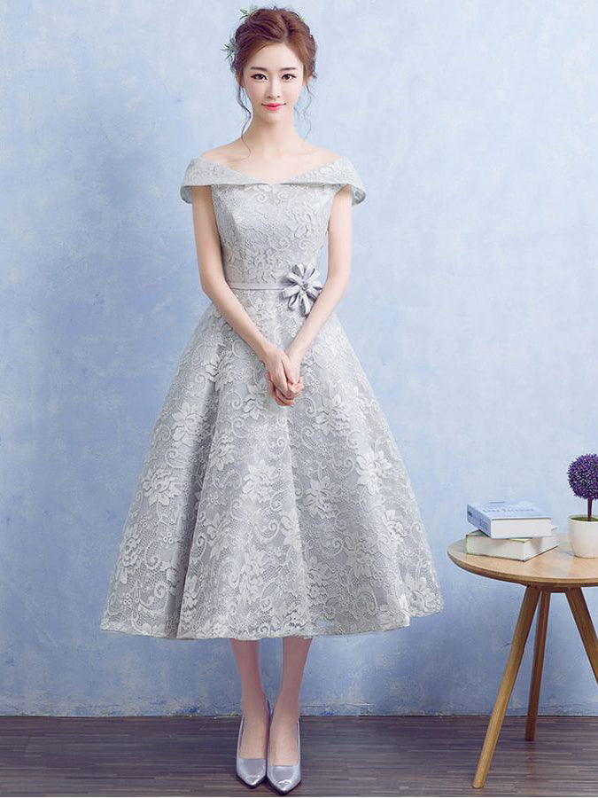 e432f43422 Cute Silver Homecoming Dress Off-the-shoulder Lace Short Prom Dress Party  Dress JK316