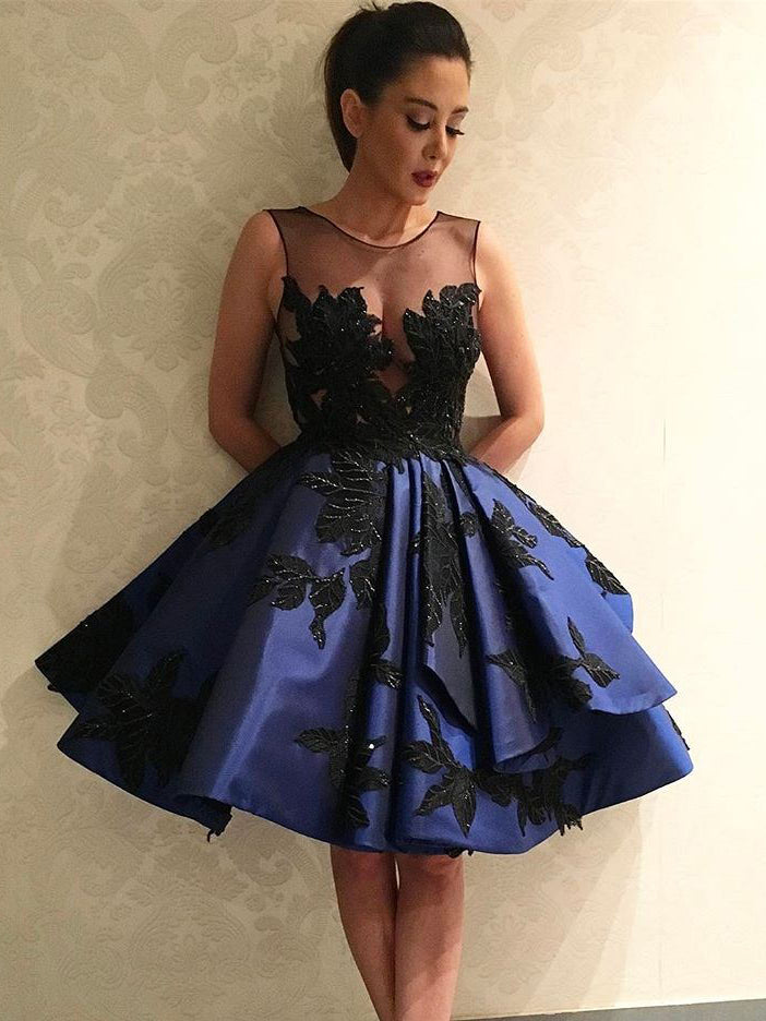 Sexy Homecoming Dress Royal Blue Black Appliques Short Prom Dress Party Dress JK317