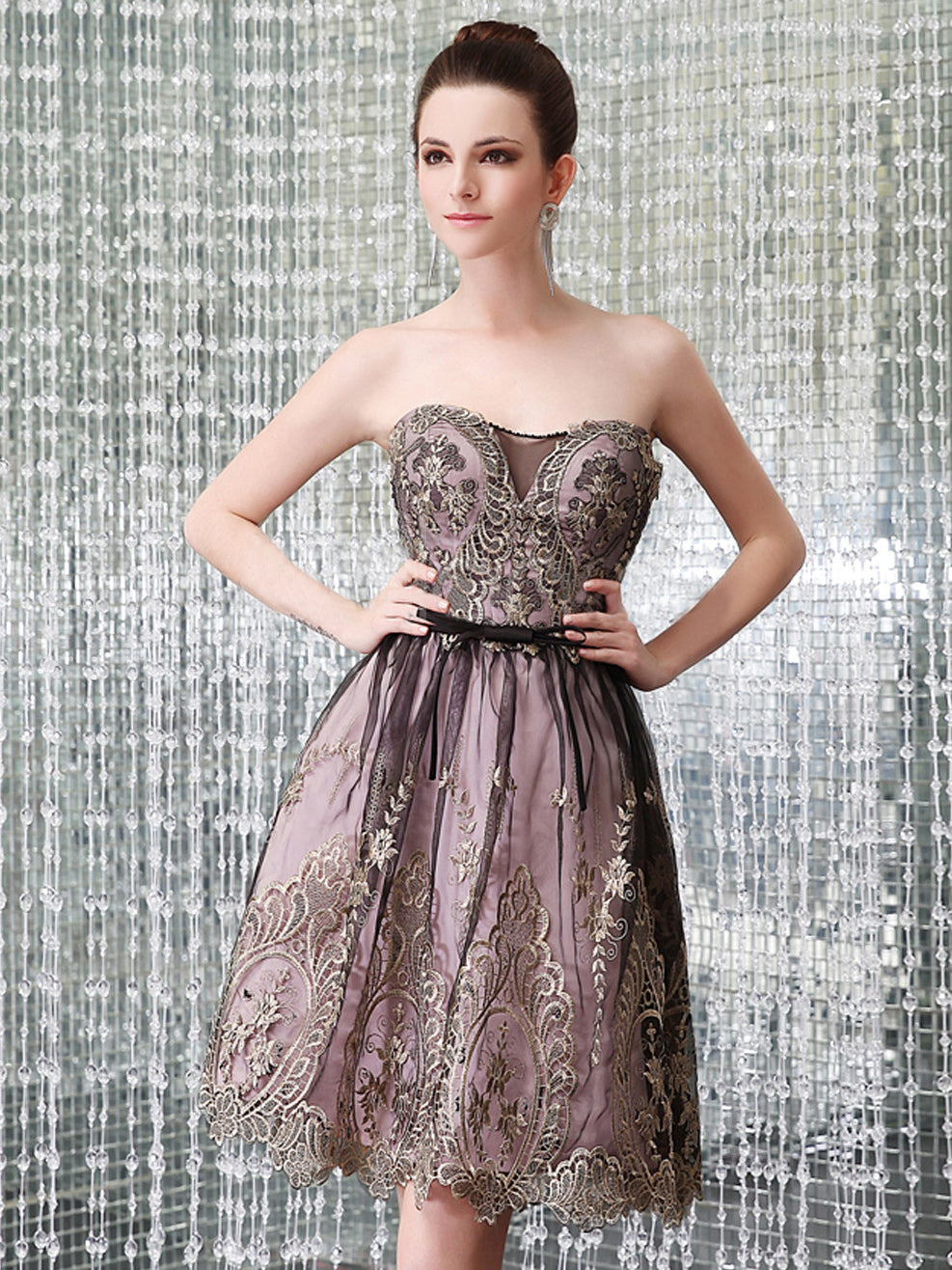 Cute Homecoming Dress Gold Appliques Black Tulle Short Prom Dress Party Dress JK319