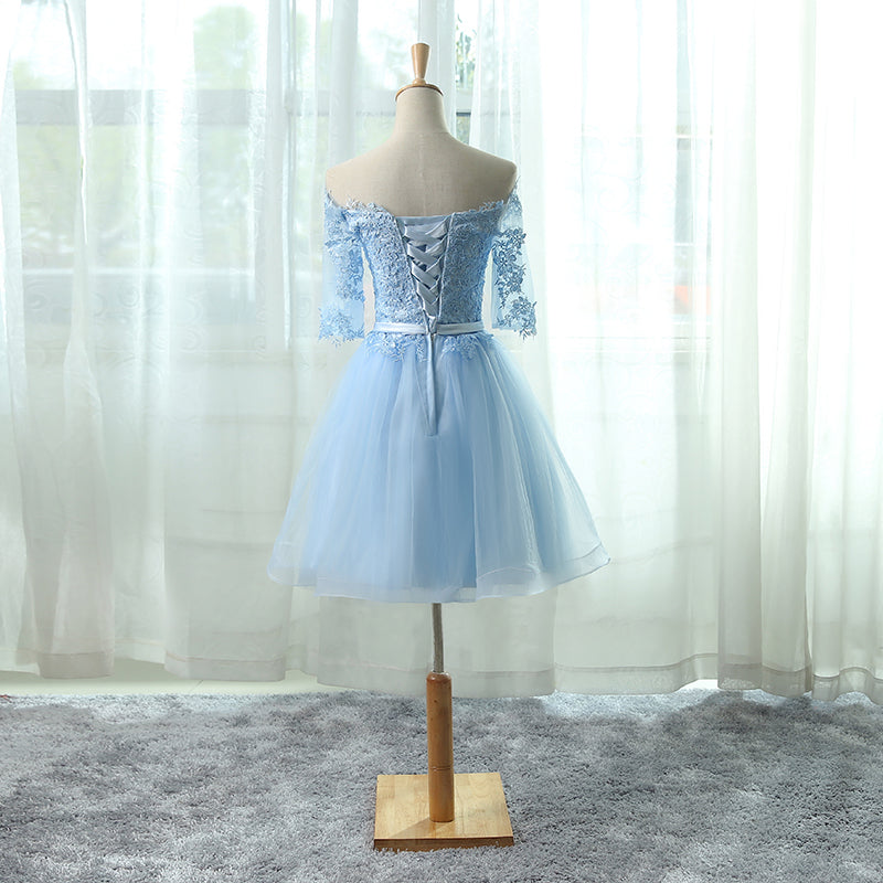 358331f1429 ... Sexy Homecoming Dress Light Sky Blue Appliques Tulle Short Prom Dress  Party Dress JK323 ...