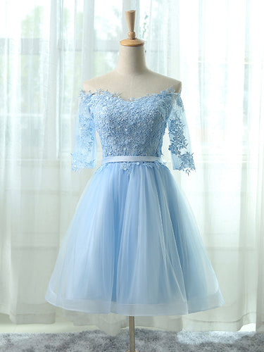 Sexy Homecoming Dress Light Sky Blue Appliques Tulle Short Prom Dress Party Dress JK323