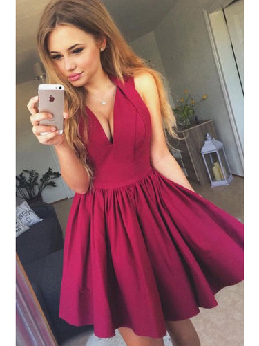 Beautiful Homecoming Dress Sexy Halter Burgundy Satin Short Prom Dress Party Dress JK327