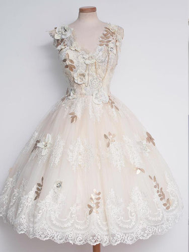 Beautiful Homecoming Dress Ivory Hand-Made Flower Tulle Short Prom Dress Party Dress JK337