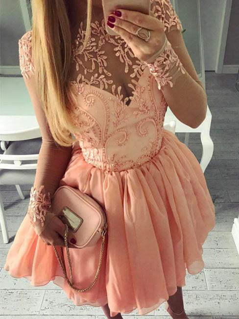 Cute and Sexy Homecoming Dress Appliques Chiffon Short Prom Dress Party Dress JK343