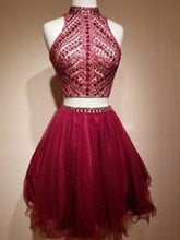 Two Piece Homecoming Dress High Neck Rhinestone Short Prom Dress Party Dress JK344