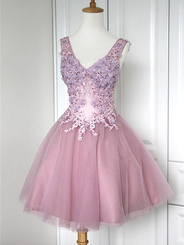 Beautiful Homecoming Dress Appliques Straps Sexy Short Prom Dress Party Dress JK345