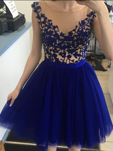 Chic Homecoming Dress Sexy Royal Blue Appliques Short Prom Dress Party Dress JK346