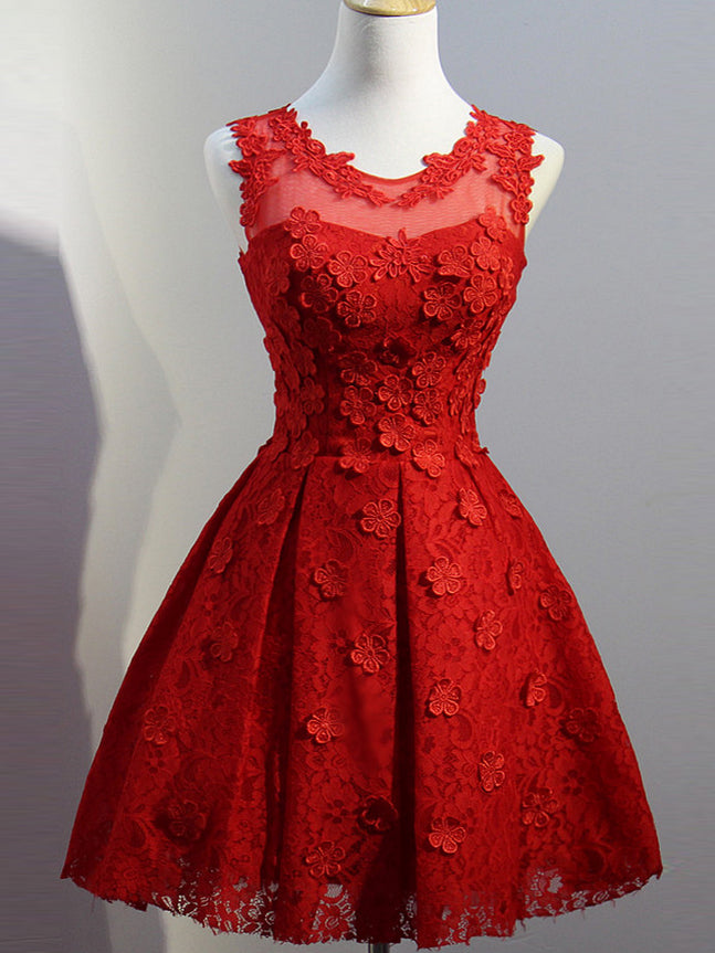 Short Red Prom Dresses with Sleeves