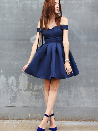 Sexy Homecoming Dress Off-the-shoulder Dark Navy Short Prom Dress Party Dress JK348
