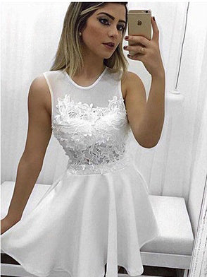 Chic White Homecoming Dress Scoop Satin Appliques Short Prom Dress Party Dress JK349