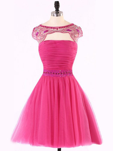 Chic Sexy Homecoming Dress Fuchsia Rhinestone Tulle Short Prom Dress Party Dress JK352
