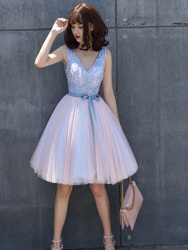 Beautiful Homecoming Dress Beading Lace Tulle Bowknot Short Prom Dress Party Dress JK355