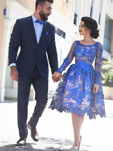 Chic Homecoming Dress Royal Blue Appliques Knee-length Short Prom Dress Party Dress JK356