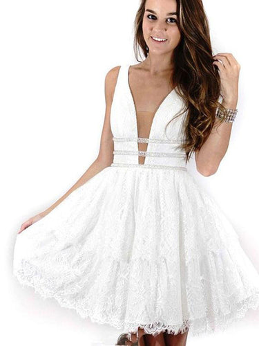 Lace Homecoming Dress Beautiful Straps Ivory Tulle Short Prom Dress Party Dress JK357