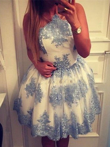 Beautiful Homecoming Dress Scoop Appliques Tulle Short Prom Dress Party Dress JK358
