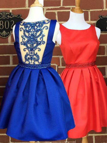 Chic Red Homecoming Dress Royal Blue Satin Short Prom Dress Party Dress JK362