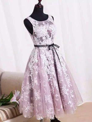 Cute Homecoming Dress Scoop Knee-length Appliques Short Prom Dress Party Dress JK364