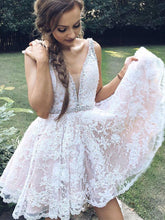 Beautiful Homecoming Dress Straps Lace Appliques Short Prom Dress Party Dress JK367