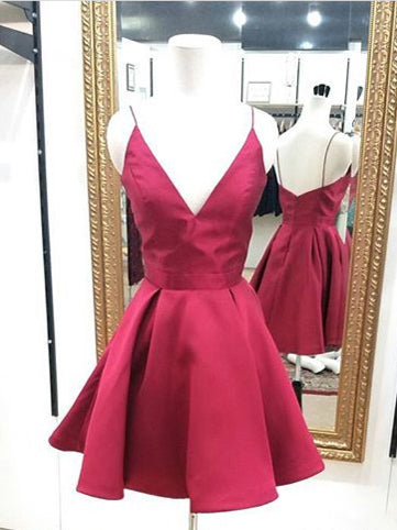Cheap Homecoming Dress Spaghetti Straps Burgundy Sexy Short Prom Dress Party Dress JK369