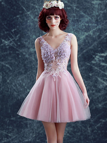 Cute and Sexy Homecoming Dress Hand-Made Flower Short Prom Dress Party Dress JK370