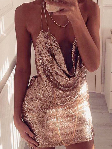 Sexy Backless Homecoming Dress Halter Sequins Short Prom Dress Party Dress JK373