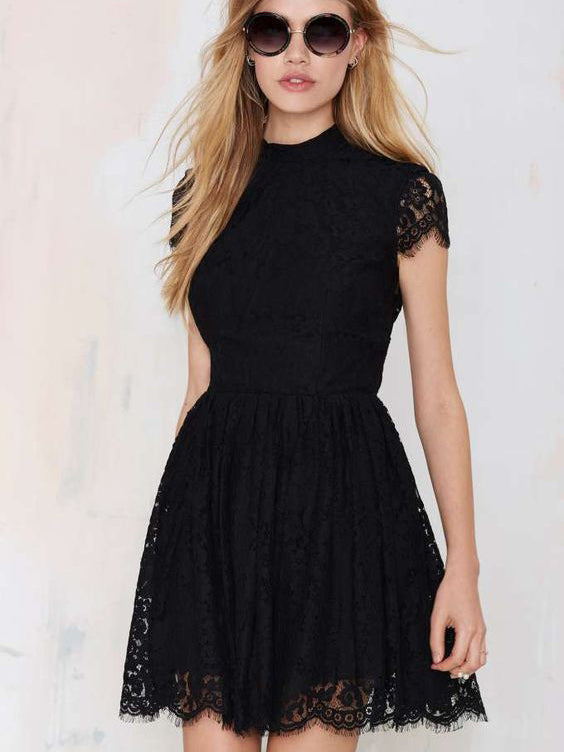 Little Black Dresses Homecoming Dress Sexy Open Back Lace Short Prom