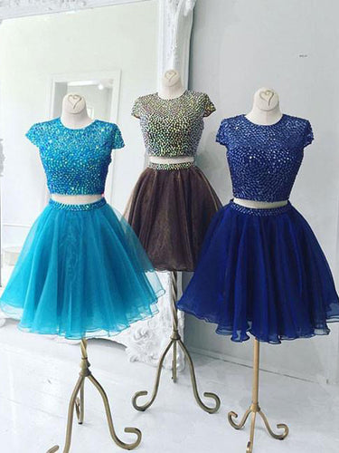 Two Piece Homecoming Dress Scoop Rhinestone Organza Short Prom Dress Party Dress JK377