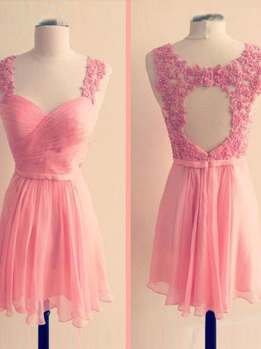 Beautiful Homecoming Dress Appliques Pink Chiffon Short Prom Dress Party Dress JK378