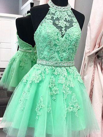 Chic Homecoming Dress Halter Appliques Sage Short Prom Dress Party Dress JK382