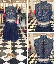 Two Piece Homecoming Dress High Neck Rhinestone Short Prom Dress Party Dress JK385