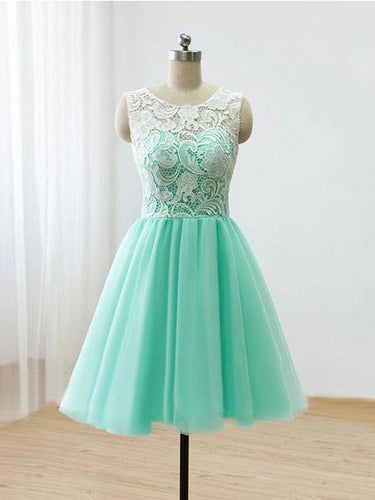 Beautiful Homecoming Dress Scoop Sage Lace Tulle Short Prom Dress Party Dress JK386