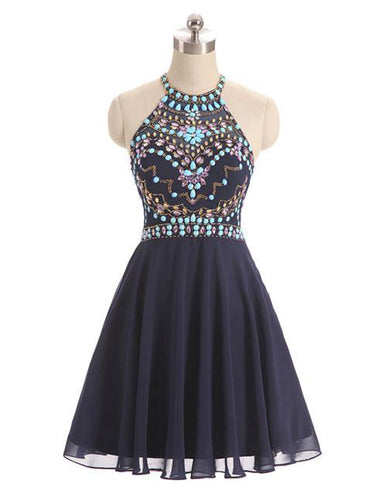 Sexy Homecoming Dress Halter Rhinestone Chiffon Short Prom Dress Party Dress JK387