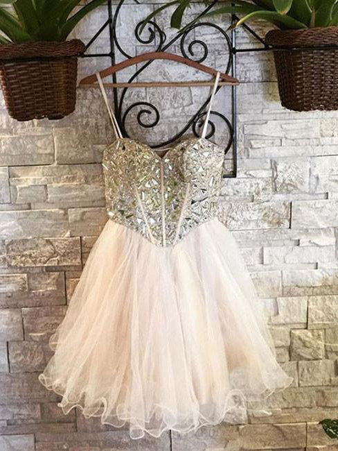 Beautiful Homecoming Dress Sweetheart Tulle Rhinestone Short Prom Dress Party Dress JK388
