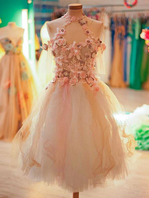 Beautiful Homecoming Dress Hand-Made Flower Appliques Short Prom Dress Party Dress JK390