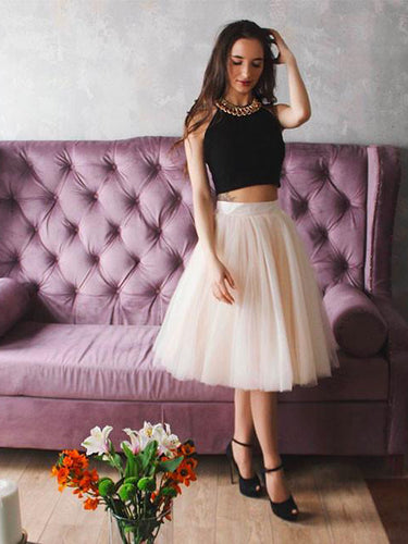 Two Piece Black Homecoming Dress Sexy Halter Tulle Short Prom Dress Party Dress JK397