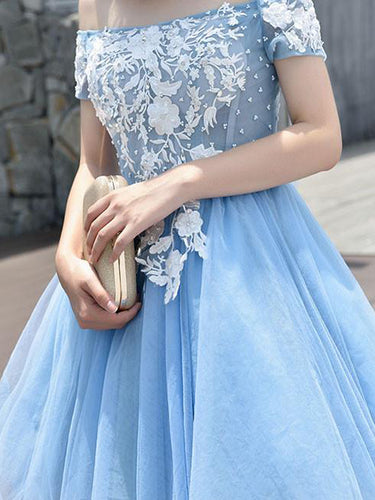 Beautiful Homecoming Dress Appliques Light Sky Blue Short Prom Dress Party Dress JK399