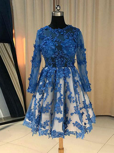 Long Sleeve Homecoming Dress Scoop Appliques Sexy Short Prom Dress Party Dress JK400