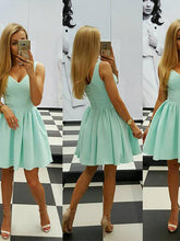 Sexy Homecoming Dress Sage V-neck Satin Short Prom Dress Party Dress JK403
