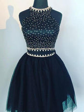 Two Piece Homecoming Dress Halter Sexy Dark Navy Short Prom Dress Party Dress JK405